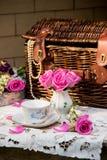 Grupo de chá antiquado no jardim Imagens de Stock Royalty Free