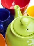 Grupo de chá cerâmico da cor Imagem de Stock