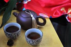 Grupo de chá chinês no fundo dourado e vermelho Imagem de Stock Royalty Free