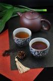 Grupo de chá chinês no fundo vermelho Imagem de Stock Royalty Free