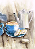 Grupo de chá da aquarela com copo e potenciômetro e macarons azuis do ferro Imagem de Stock Royalty Free