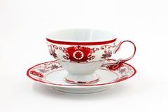 grupo de chá do vintage com a decoração vermelha do ouro isolada fotografia de stock royalty free