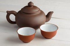 Grupo de chá no fundo de madeira Imagem de Stock Royalty Free