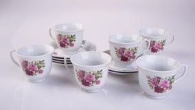 grupo de chá ou grupo de chá da porcelana da antiguidade no fundo fotos de stock