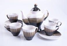 grupo de chá ou grupo de chá da porcelana no fundo fotos de stock