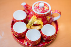 Grupo de chá tradicional chinês usado na cerimônia de chá chinesa do casamento Imagens de Stock