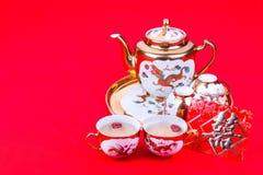 Grupo de chá chinês com o envelope que carrega a felicidade do dobro da palavra Imagem de Stock