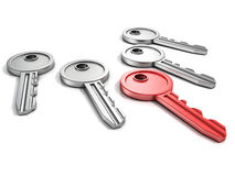 Grupo de chaves da porta com um vermelho no branco Imagem de Stock Royalty Free