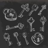 Grupo de chaves no estilo do esboço no fundo escuro ilustração stock