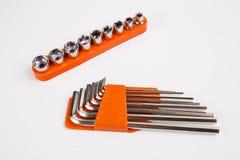 Grupo de chaves torx e do hexágono na placa de madeira Fotografia de Stock
