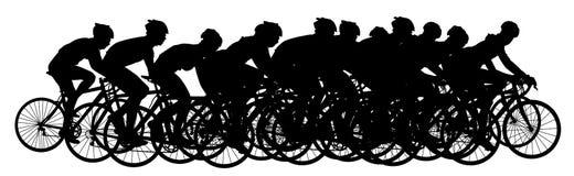 Grupo de ciclistas en la raza que monta un vector de la bicicleta imágenes de archivo libres de regalías