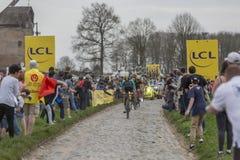 Grupo de ciclistas - Paris-Roubaix 2018 Imagem de Stock