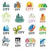 Grupo de cidades dos logotipos do vetor Fotografia de Stock
