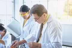 Grupo de cientista asiático que trabalha e que explica a informação da pesquisa junto no laboratary foto de stock