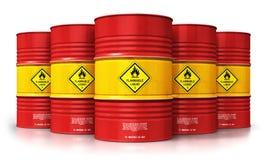 Grupo de cilindros de óleo vermelhos isolados no fundo branco Imagem de Stock Royalty Free