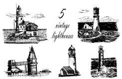 Grupo de cinco desenhos de faróis do mar, ilustração do esboço Fotos de Stock Royalty Free