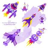 Grupo de cinco naves espaciais dos desenhos animados e de dois vagabundos planetários Imagens de Stock Royalty Free