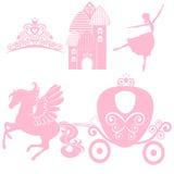 Grupo de Cinderella de coleções Coroa, ilustração do vetor projete elementos para a princesa pequena, menina do encanto Fotos de Stock