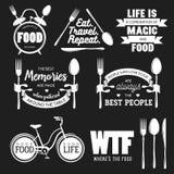 Grupo de citações tipográficas relacionadas do alimento do vintage Ilustração do vetor Foto de Stock