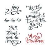Grupo de citações tiradas mão do vetor Feliz Natal alegria Coma, drin ilustração stock