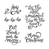 Grupo de citações tiradas mão do vetor Feliz Natal alegria Coma, drin ilustração do vetor
