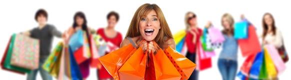 Grupo de clientes felices de las compras foto de archivo