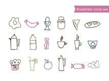 Grupo de clipart do alimento de café da manhã da tração da mão Fotos de Stock