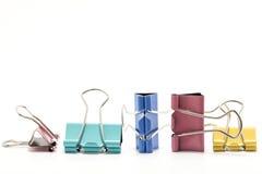 Grupo de clipe de papel de quatro cores isolado no fundo branco Imagem de Stock Royalty Free