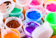 Grupo de close-up colorido das pinturas Fotografia de Stock