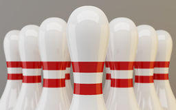 Grupo de close up dos pinos de bowling Imagem de Stock