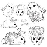 Grupo de coelhos bonitos ilustração royalty free