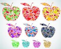 Grupo de maçãs dos corações Fotos de Stock Royalty Free