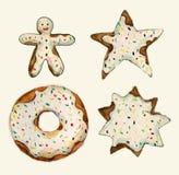 Grupo de coleção dos bolos Bolo de aniversário, estrela, cookie do pão-de-espécie, filhós do chocolate ilustração do aquarelle da Imagem de Stock Royalty Free