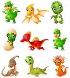 Grupo de coleções dos dinossauros dos desenhos animados Fotografia de Stock Royalty Free