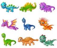 Grupo de coleções dos dinossauros dos desenhos animados Imagem de Stock