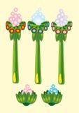 Grupo de colorido, desenhos animados, plantas tropicais Vetor Fotografia de Stock Royalty Free