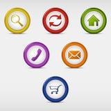 Grupo de colorido em volta dos botões da Web Imagem de Stock