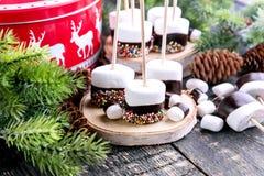 Grupo de comida sumergida de la Navidad de las melcochas Imagen de archivo libre de regalías