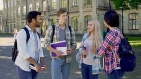 Grupo de compañeros de clase femeninos y masculinos que discuten los exámenes, amigos de la universidad almacen de metraje de vídeo