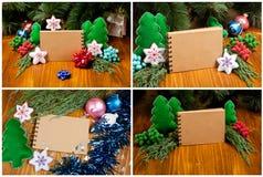 Grupo de composição do Natal que consiste no bloco de notas para seu texto Imagem de Stock