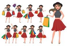 Grupo de compra do vetor do caráter da mulher Personagem de banda desenhada da menina ilustração do vetor