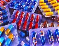 Grupo de comprimido no bloco de bolha. Fotos de Stock Royalty Free