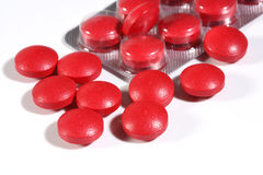 Grupo de comprimidos vermelhos da medicina Fotos de Stock