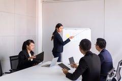 Grupo de comunicação de encontro e de trabalho asiática dos povos do negócio ao sentar-se na mesa de escritório da sala junto, co imagens de stock royalty free