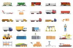 Grupo de conceito da logística do transporte dos ícones Fotos de Stock