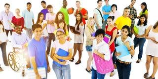 Grupo de conceito da unidade da comunidade dos estudantes imagens de stock royalty free