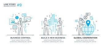 Grupo de conceito das ilustrações com conceito do negócio Trabalhos, crescimento, gráficos Desenvolvimento de negócios, marcos mi Imagens de Stock
