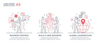 Grupo de conceito das ilustrações com conceito do negócio Trabalhos, crescimento, gráficos Desenvolvimento de negócios, marcos mi Fotos de Stock