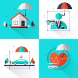 Grupo de conceito do seguro O grupo contém a casa, automóvel, saúde, seguro de vida Pode ser usado para a bandeira e a propaganda ilustração do vetor