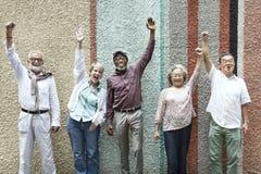 Grupo de conceito superior da felicidade dos amigos da aposentadoria fotografia de stock royalty free